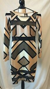 Fire-Los-Angeles-Bodycon-Dress-Geometric-Print-Sheer-Mesh-Inserts-Size-S