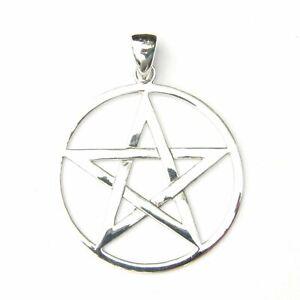 Grand-Argent-Sterling-Pentagrame-Pendentif-Superbe-Celtique-Sorcellerie-Design