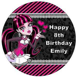 Image is loading Monster-High-Draculaura-Personalised-Cake-Topper-7-5-  sc 1 st  eBay : monster high paper plates - pezcame.com