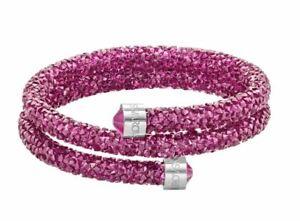 Details about Swarovski Crystaldust Double Bracelet Pink Fuchsia Size Medium