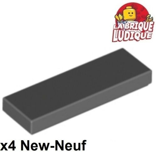 4x Tile plaque lisse 1x3 with Groove gris f//dark bluish gray 63864 NEUF Lego