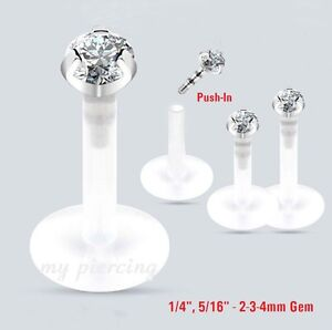 """Labret//Chin Stud Retainer Clear Acrylic 14 Gauge 9//16/"""" Body Jewelry"""