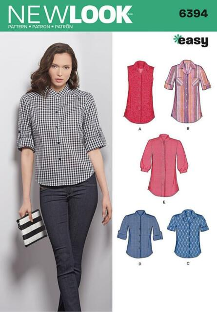 LOOK Misses\' Button Front Tops Shirts Blouses Sewing Pattern 6394 | eBay