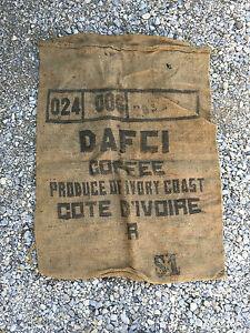 Ancien Sac En Toile De Jute Café Dafci Côte Divoire Déco Industriel