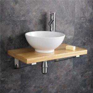 Floating Bathroom Wood Beam Shelf
