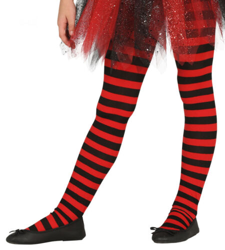 Kids Girls Striped Tights 5-6 7-8 Red /& Black Halloween Witch Costume NEW