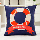 Home Decor Anchor Sail Boat Rudder Life Buoy Cotton Linen Cushion Cover LauR 45