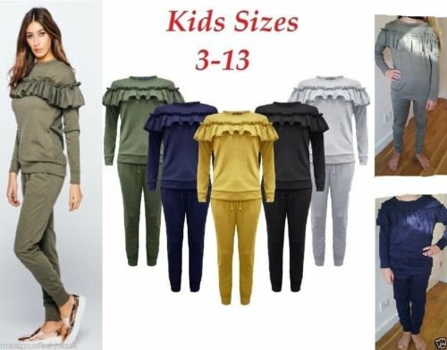 Kids Childrens Ruffle Frill Detail Loungewear 2 Piece Tracksuit Jogger Top 2-13