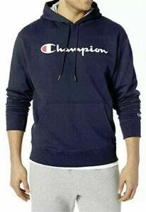 CHAMPION-Men-039-s-Powerblend-Pullover-Hoodie-Navy-Blue-Script-Logo