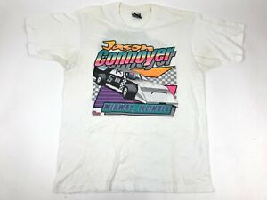 Vtg-90s-JASON-CONNOYER-Midway-IL-Race-Car-5-Single-Stitch-Graphic-T-Shirt-L-USA