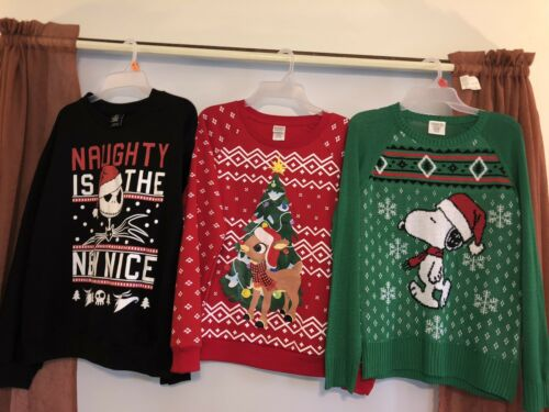 Nightmare before NWT Womens Ugly Christmas Sweaters Pick Size Rudolph Snoopy