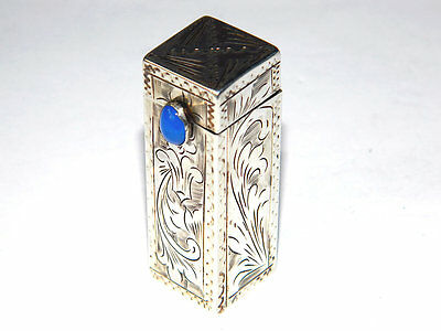 "1881 Art Nouveau LIPSTICK HOLDER w/ MIRROR Spring-Loaded, Silver ""FI"" France"