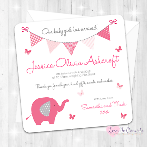 Personalised Pink Elephant Birth Announcement Cards Baby Girl