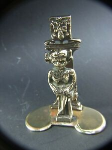Antique-Solid-Lincoln-Brass-Goblin-Troll-Figurine-Letter-Holder-c1900-039-s-Estate