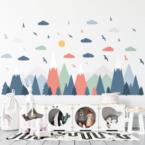 Colourful Rainbow Mountain Children Wall Sticker Nursery Kids Baby Room Decor