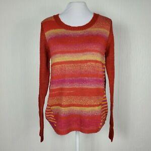 Prana-Womens-Sz-M-Seffi-Sweater-Pullover-Wool-Blend-Orange-Purple-Striped