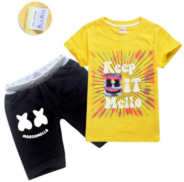 New Fashion Kids Boys Girls DJ Marshmello T-Shirts// Top+Pants //Shorts 6-12 Years
