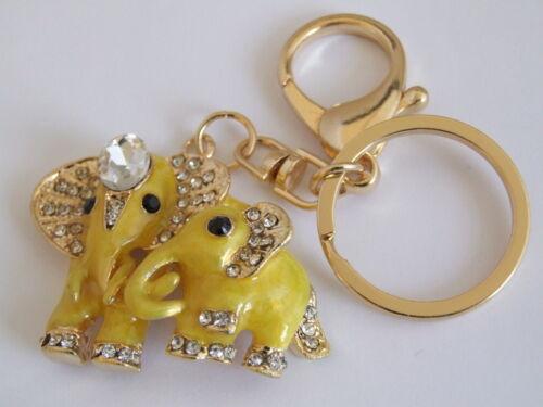Bolso Hebilla Adornos Cristal /& amarillo esmalte Mother /& Baby Elefante Con Llavero