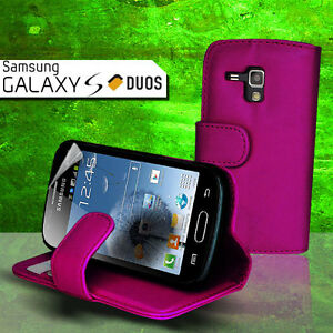 Purple-Wallet-Flip-Leather-Case-Cover-Card-slot-for-Samsung-Galaxy-S-Duos-S7562