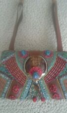 MARY FRANCIS BEADED TURQUOISE shoulder bag