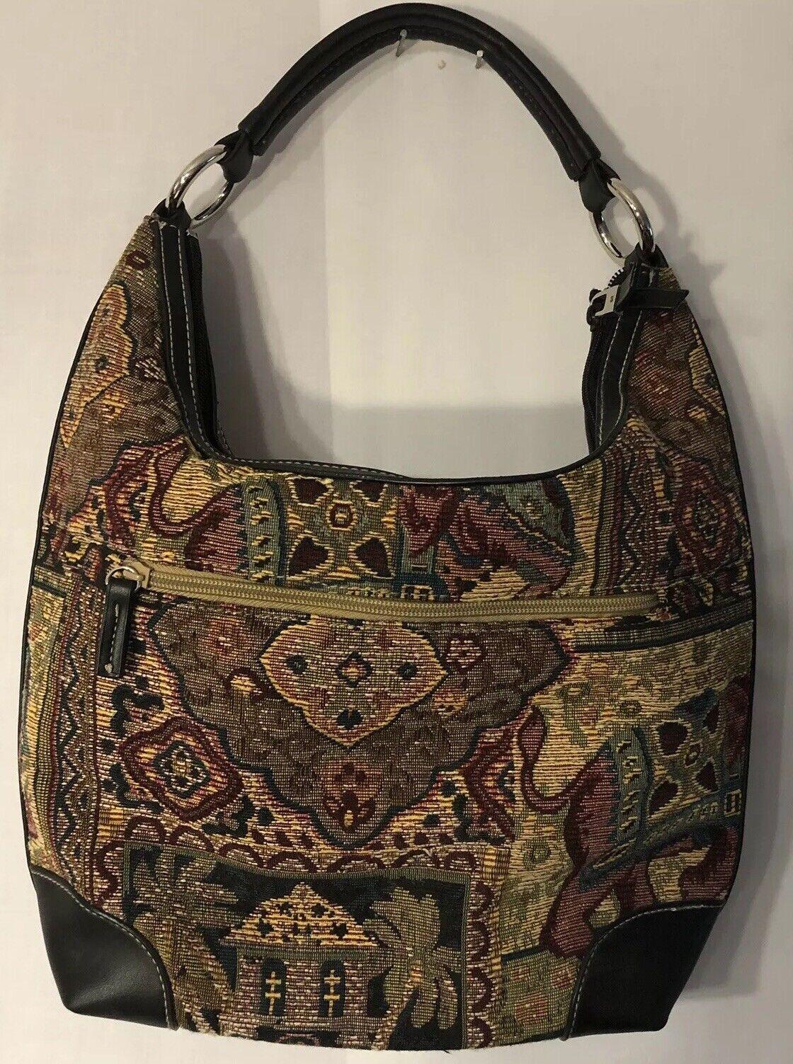 St John's Bay Vintage 1980 Elephant Tapestry Satchel Bag/ Purse Preowned