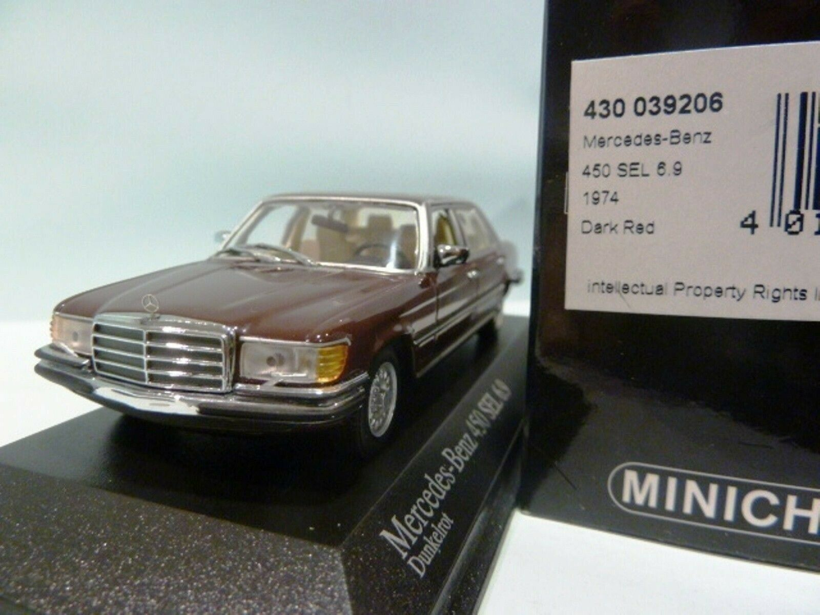 WOW EXTREMELY RARE Mercedes W116 450SEL 1974 R.Red 1 43 Minichamps-300,350,560