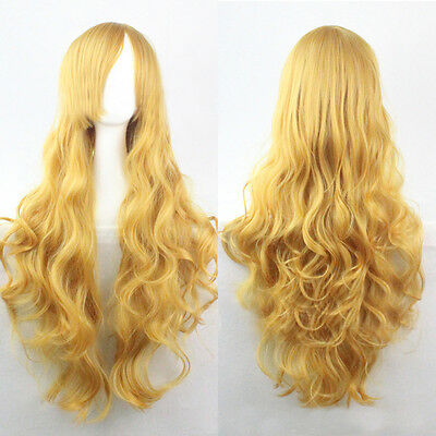"28"" Women's Long Fancy Dress Party Wigs Wave Curly Heat Resistant Hair Wig Wigs"