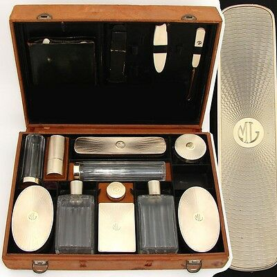 Antique French Travel Case, 18k Vermeil Sterling Silver, 13pc Orig Jars & Tools