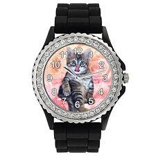 Baby Katze Strass Damenuhr mit Silikonarmband CSG3001
