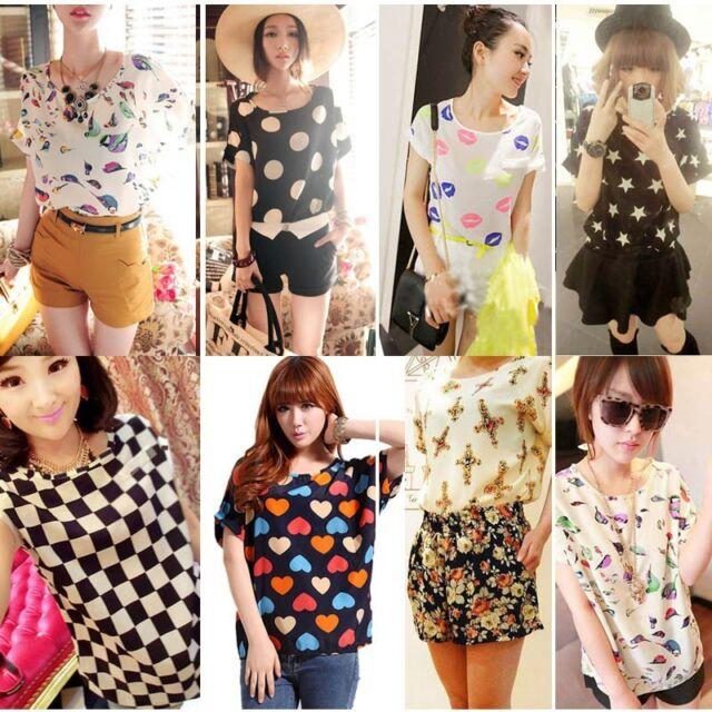 Summer Tops Women's Short Sleeve Stripes Heart Lip Print Chiffon T-shirt Blouse
