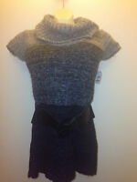 I Daisy Juniors Short Sleeve Belted Cowl Neck Sweater
