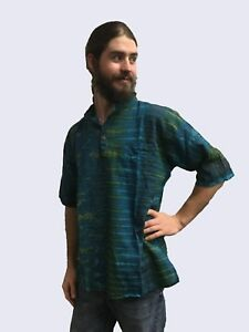 New-Mens-Tie-Dyed-Short-Sleeve-Boho-Hippie-Shirt-Sizes-S-M-L-XL-XXL