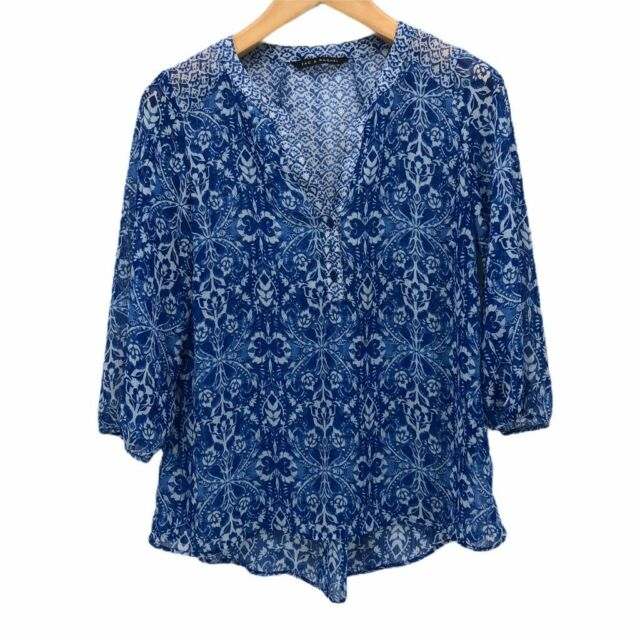 Zac & Rachel Womens Popover Blouse Blue White Floral 3/4 Sleeve Notch Neck Top M