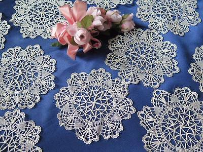 Antique Handmade Bobbin Lace Cocktail Round Napkin Doilies Beautiful Dozen