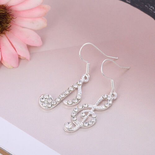 Personality Trendy Music Notes Clear Crystals Lady Dangles Party Earring Hy