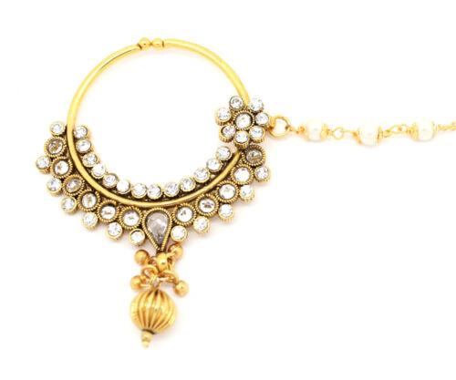 INDIAN KUNDAN POLKI NATH NOSE RING CHAIN BRIDAL ASIAN JEWELLERY BOLLYWOOD