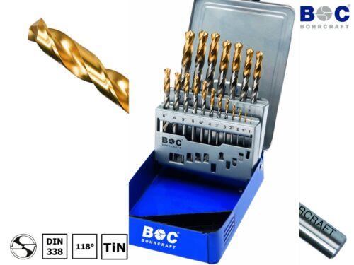 BOHRCRAFT 25-tlg HSS-G TiN DIN338 Metall Spiralbohrer 1,0-13,0 x 0,5mm Bohrer
