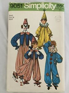 Vintage 1954 Simplicity Clown Costume Pattern 4864 Size small