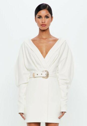 Missguided Women Plunge Shirt Dress with Western Belt Detail