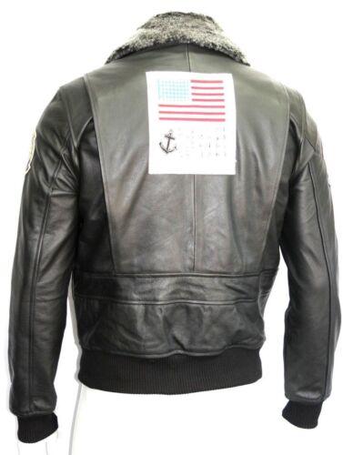 Style Gun Leather Force Hide Jacket Collar Air Movie Mens Fur Top Black Badges xwOPaaYn
