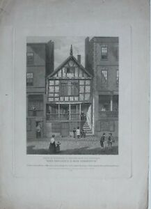 1849-ANTIQUE-PRINT-HOUSE-IN-WATERGATE-STREET-CHESTER-INSCRIBED-1652