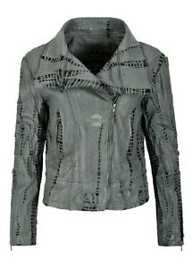 Ladies Crocodile Effect Leather Jacket Black Croc Printed Retro Fashion 5062