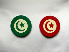 2 Inlaid STAR & CRESCENT Clay Casino Poker Chips (1 Red, 1 Green).