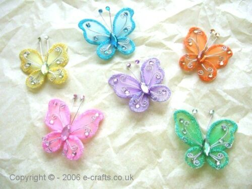 all one colour 9 colours to choose from 50 x 4.5cm Mesh /& Wire Butterflies