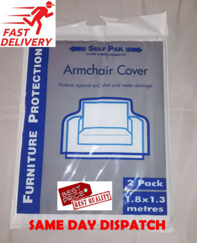 ARMCHAIR PROTECTION PLASTIC COVER Pack of 2 FOR REMOVAL STORAGE