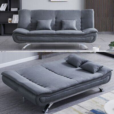 Fabric Leather Sofa Bed 3 Seater Couch, Reclining Sofa Bed Couch
