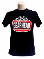 Gearhead® Logo Mens T Shirt Hot Rods Retro Checkered Flags Rockabilly Greaser