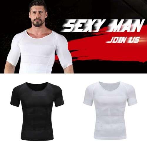 Men/'s Slimming Body Shaper Waist Trainer Vest Gym Tops Belly Compression T-Shirt