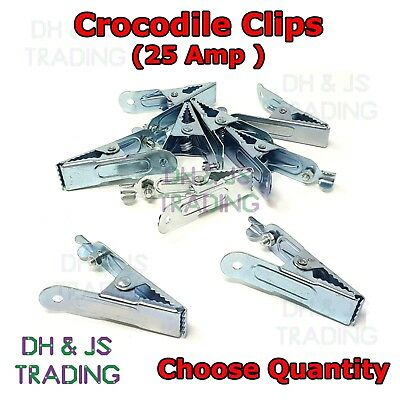 4 Crocodile Clips 5 amp or 25 amp Qty`s of 2 6  or 10