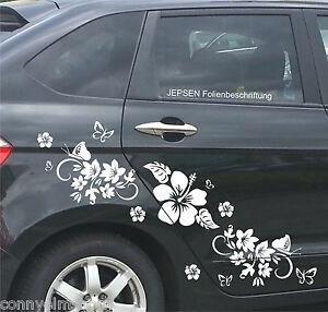 Cartattoo-Set-Autoaufkleber-Set-C49-MR-Schmetterlinge-Blumen-Hibiskus-Blueten